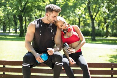 Couple training together outdoor.