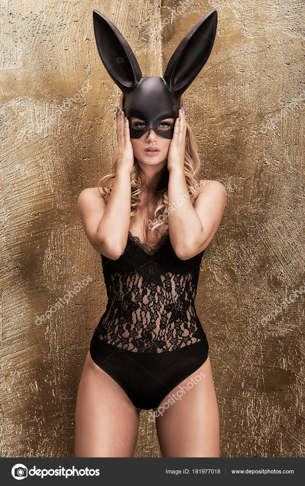 2aa267763 Sexy blonde girl in lingerie and bunny mask. — Stock Photo ...