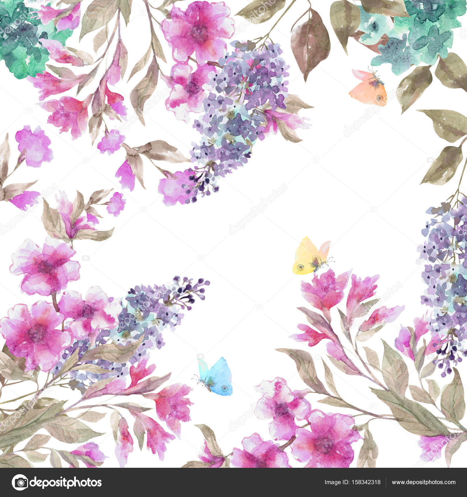 Beautiful Floral Garland Watercolor Spring Flowers Hand Painted