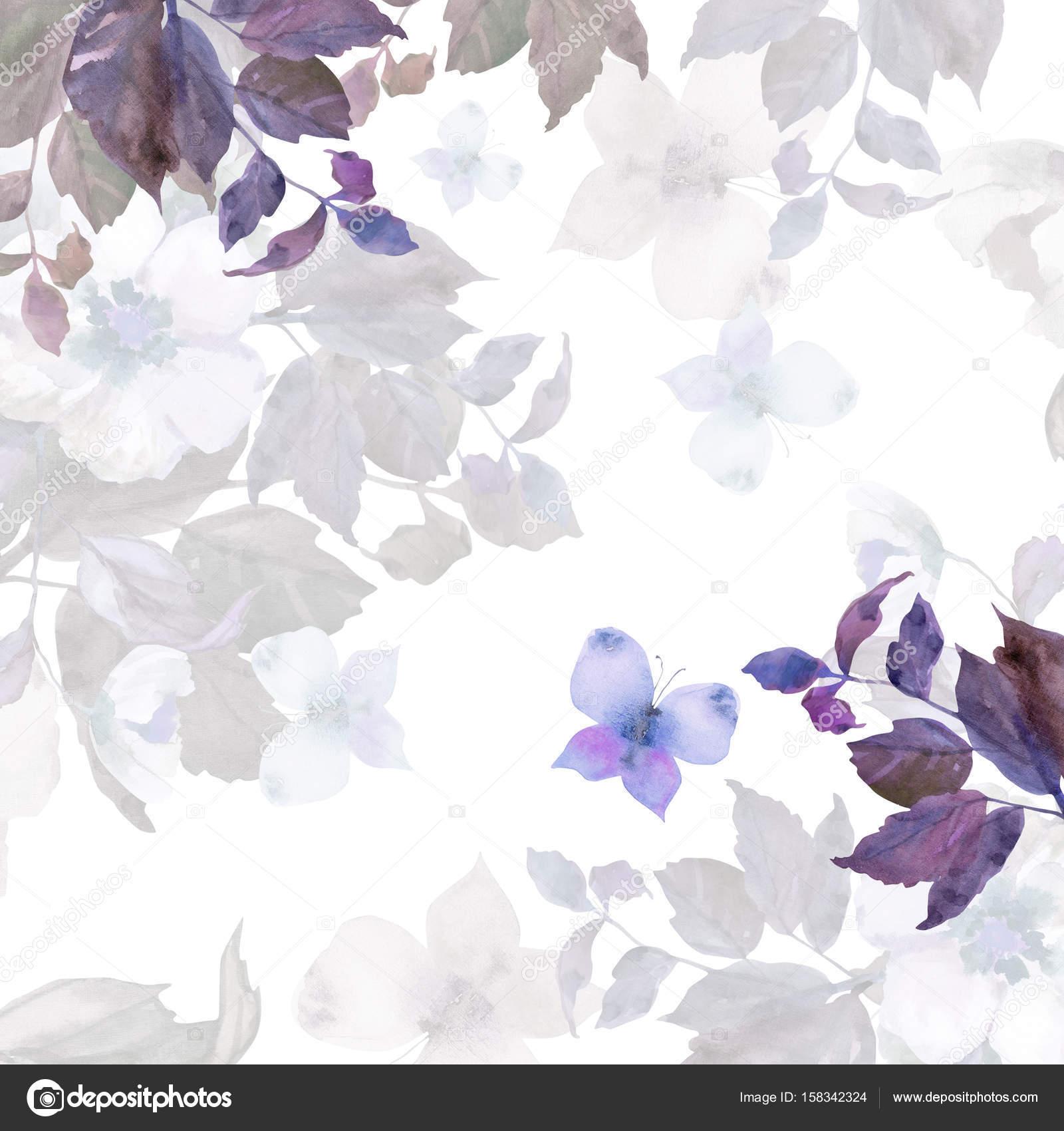 Hermosas Flores Blancas Con Mariposas Guirnalda De Flores