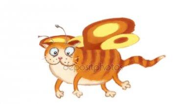 Tündér macska repülés animáció