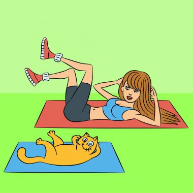 Aerobics girl with cat exercises green lying down. Vector illustration