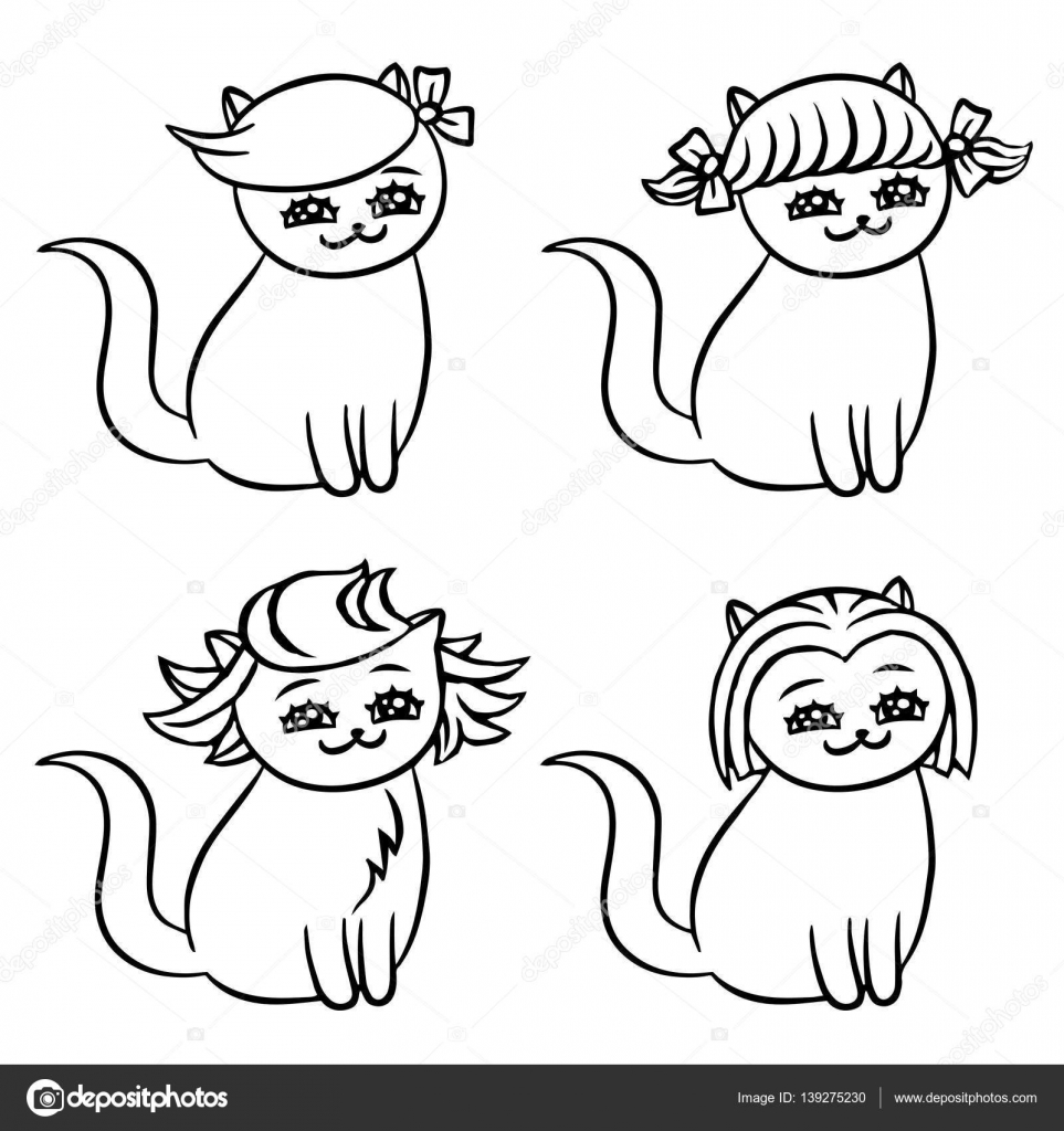 Cartoon Frisuren Katzen Vektor Illustration Stockvektor C Likozor