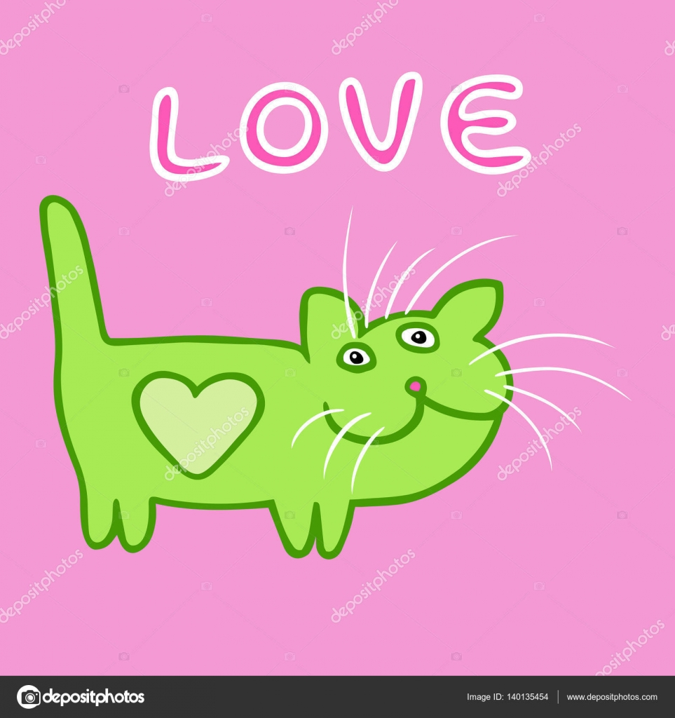 Green flat color heart cat on Valentine\'s day. at pattern in the ...