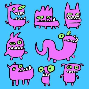 Pink monsters emoticons set. Vector illustration.