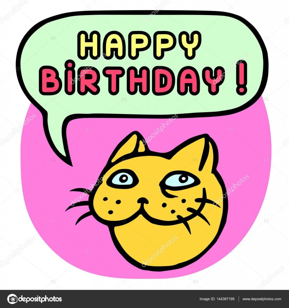 Herzlichen Glückwunsch Zum Geburtstag Cartoon Katze Kopf