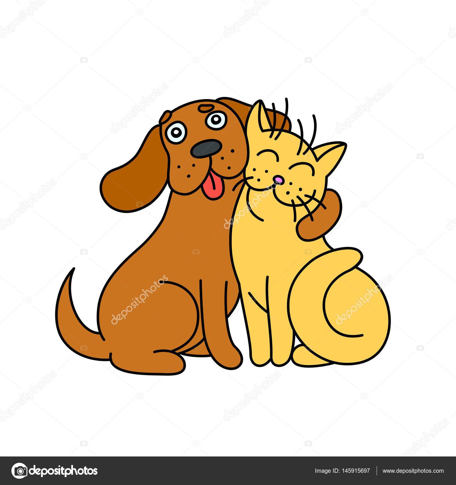 Sevimli Köpek Kedi Sarılmak Vektör çizim Stok Vektör Likozor
