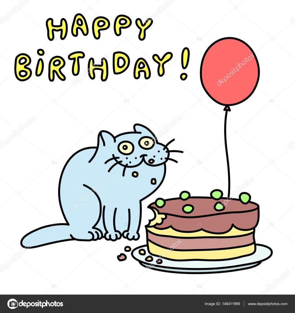 boldog születésnapot vicces Vicces kék macska. boldog születésnapot. Vektoros illusztráció  boldog születésnapot vicces