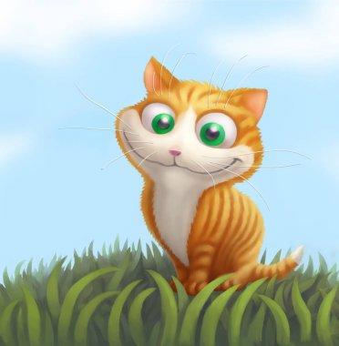 Ginger cat on green grass. Cartoon illustration.