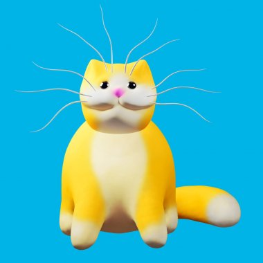 Cute ginger cat. Funny cheerful 3d illustration.