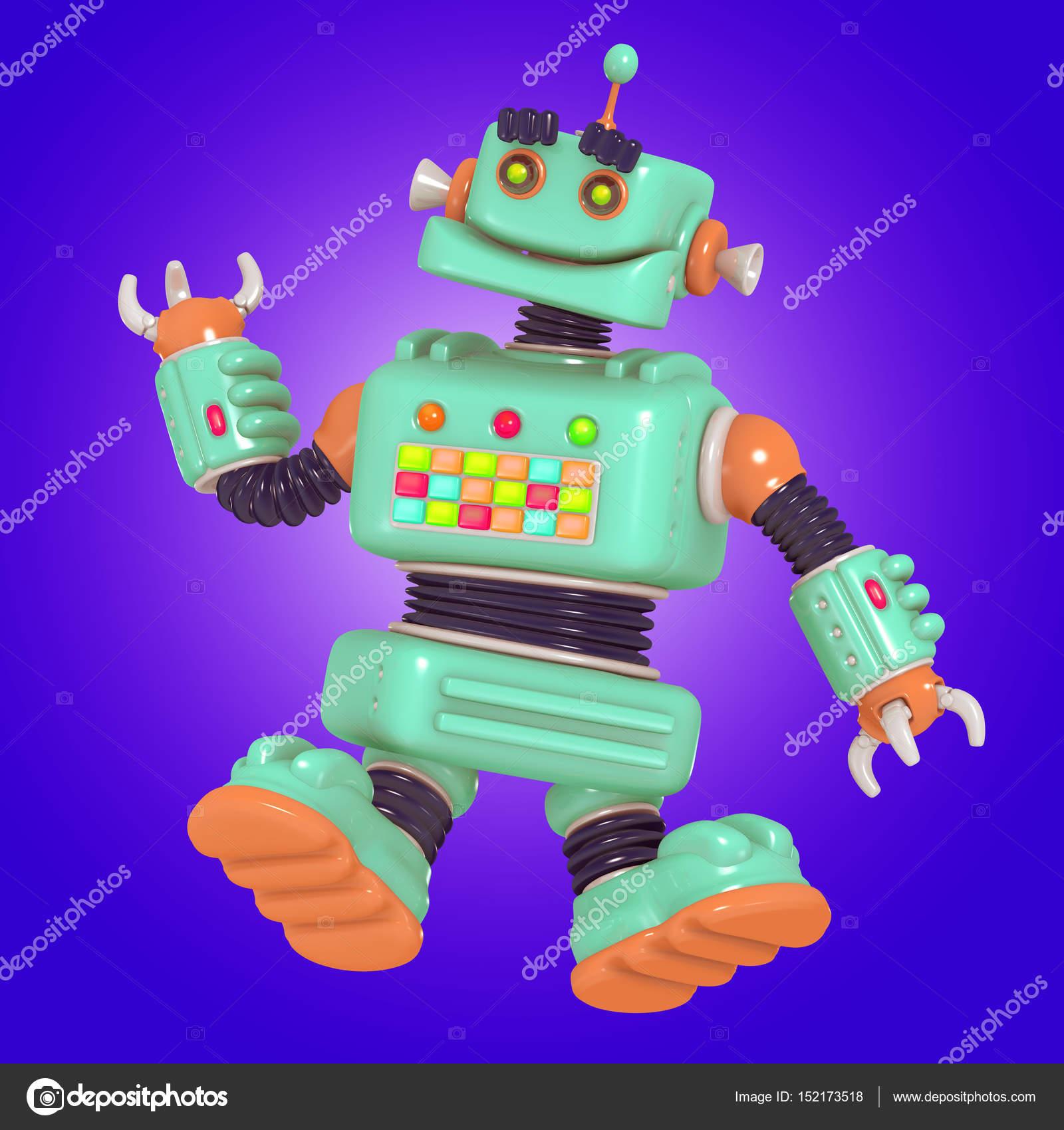 Fun little robot android 3D illustration — Stock Photo