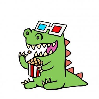 Funny dinosaur in 3d glasses and a box of popcorn. Vector illustration. Cute cartoon character. clip art vector
