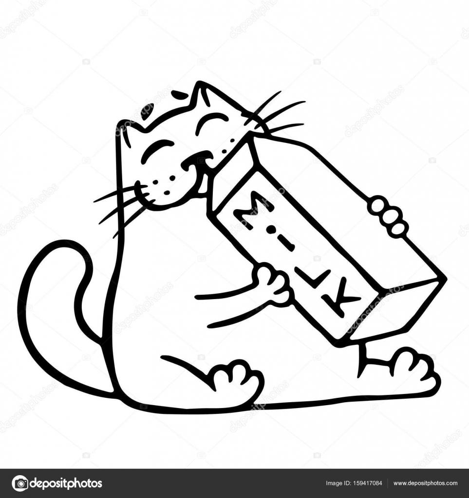 Dibujos animados gato está bebiendo leche. Ilustración de vector ...