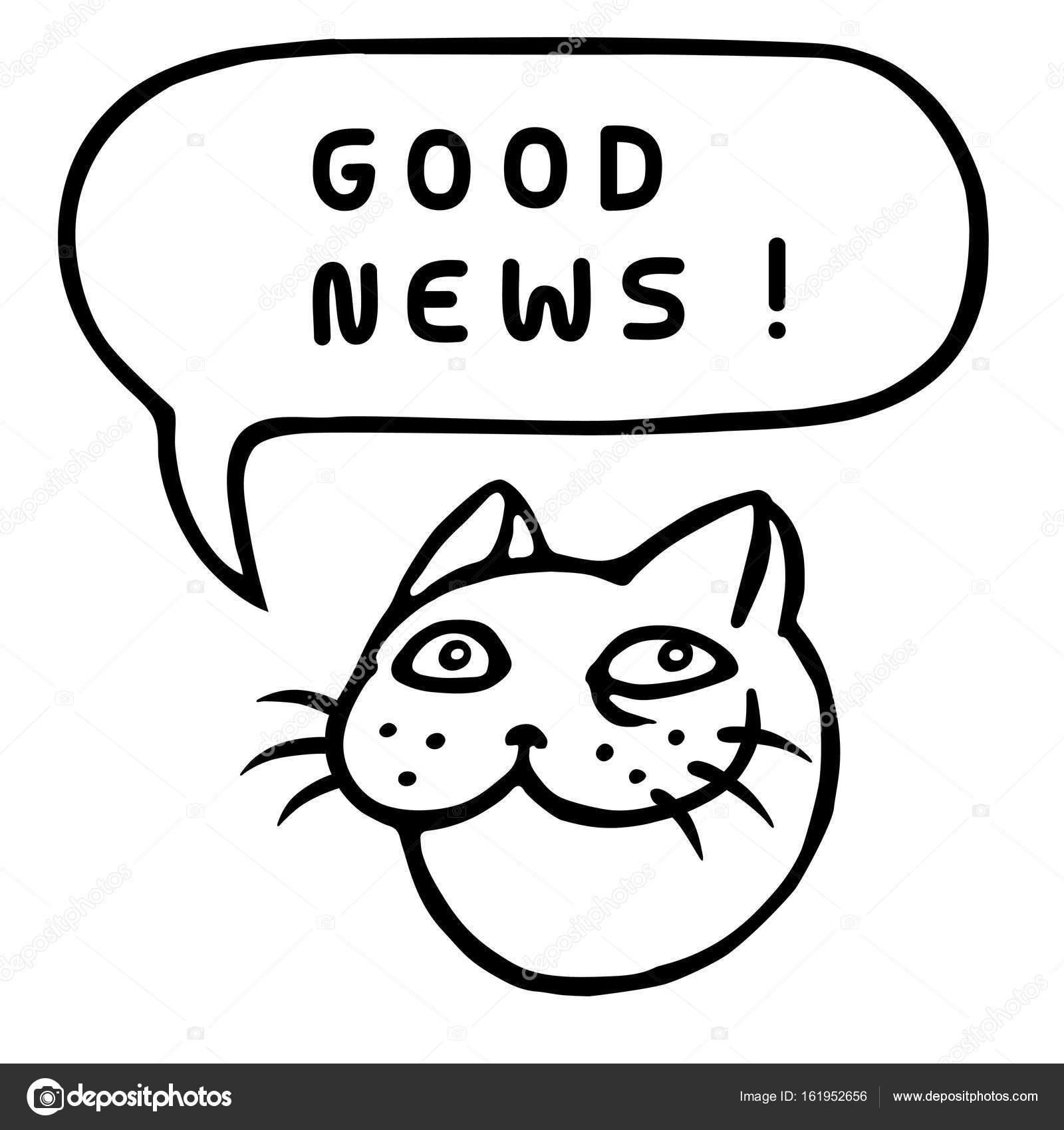 Iyi Haber Karikatür Kedi Kafası Konuşma Balonu Vektör çizim