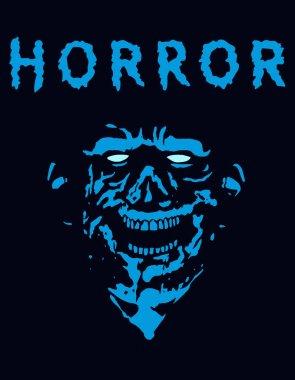 Rabid zombie in blue color. Vector illustration.
