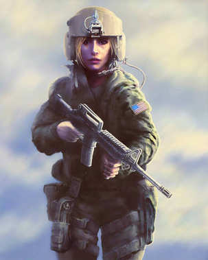 Woman soldier in a helmet and with a gun in their hands. Painted