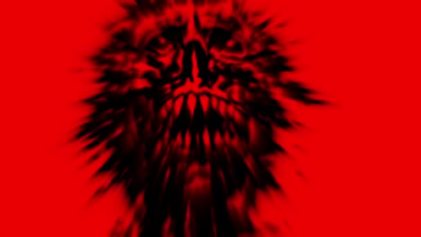 scary red demon skull with a torn face looped animation stock