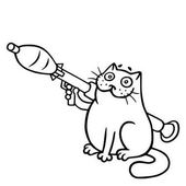 The cat is holding a grenade launcher is ready for war.