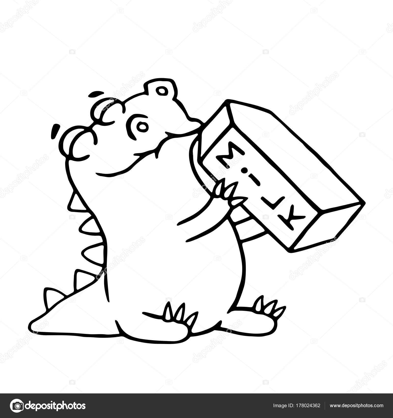 Dinosaurio de dibujos animados es beber leche. Ilustración de vector ...