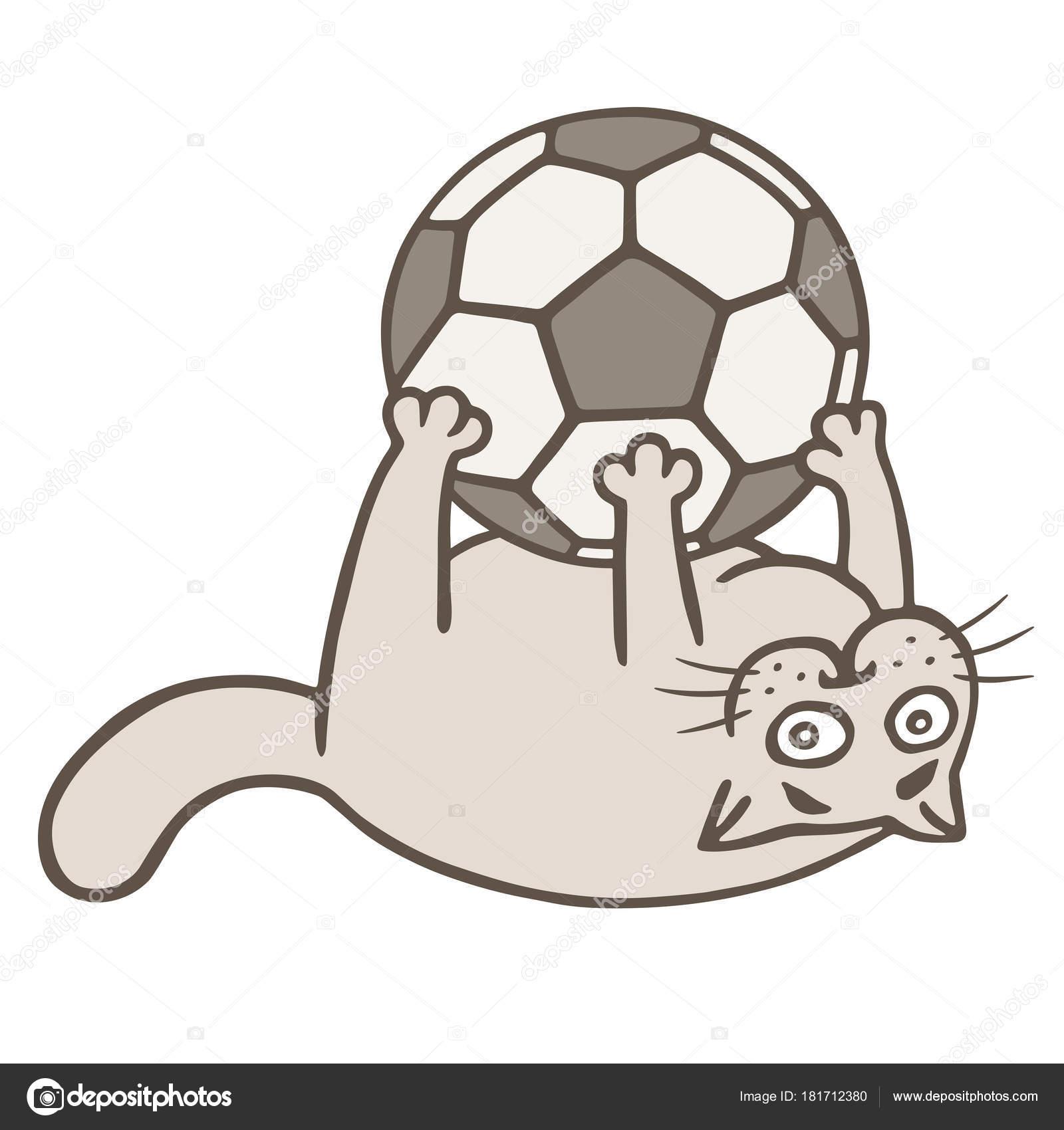 Cartoon Katze Fussball Spieler Fing Den Ball Vektor