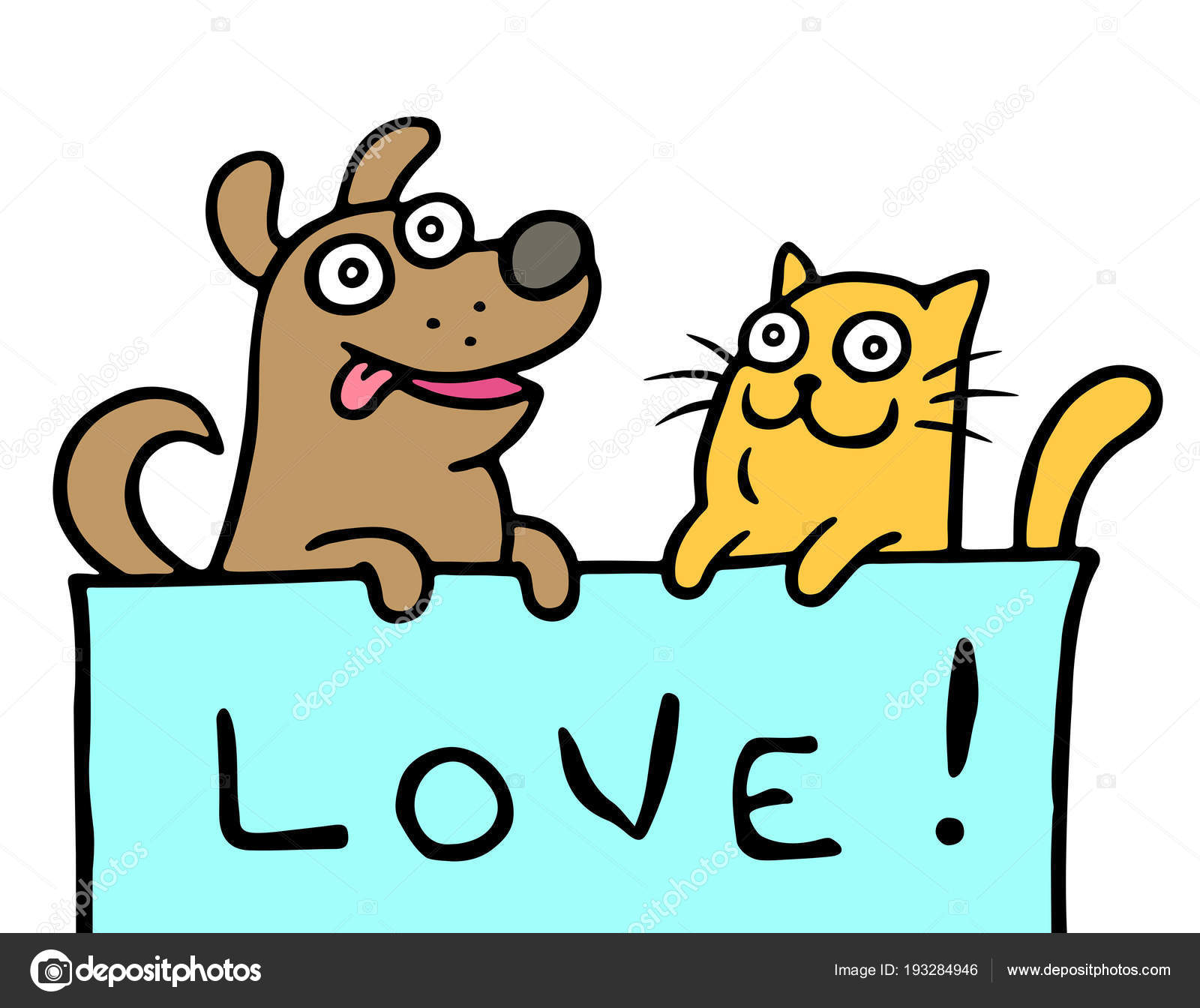 Cartoon Dog And Cat Show Love Vector Illustration Stock Vector