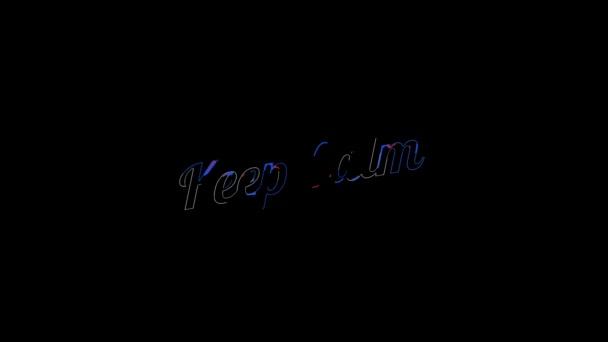 Liquid Effect über flach gesättigtem Rot und Blau Keep Calm word auf einer animierten typografischen flüssigen 4k Textkomposition mit schwarzem Hintergrund.
