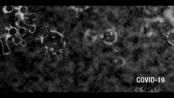 Coronavirus COVID-19 text a mikroskop obraz odhalit s černobílým, vintage starý TV efekt s expozicí kroutit vibrace a text v pravém dolním rohu.