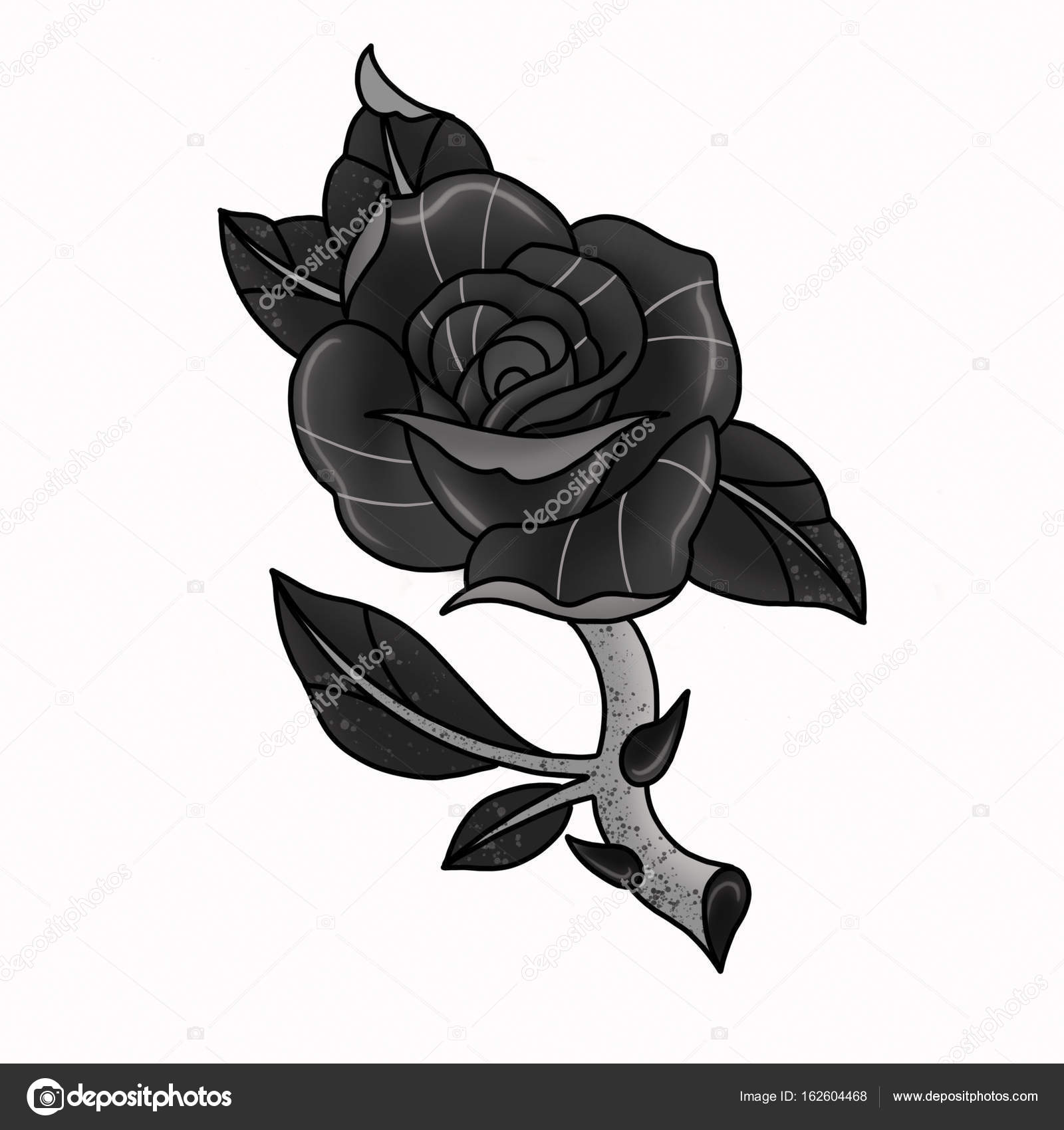 Traditional Tattoo Rose Design Stock Photo