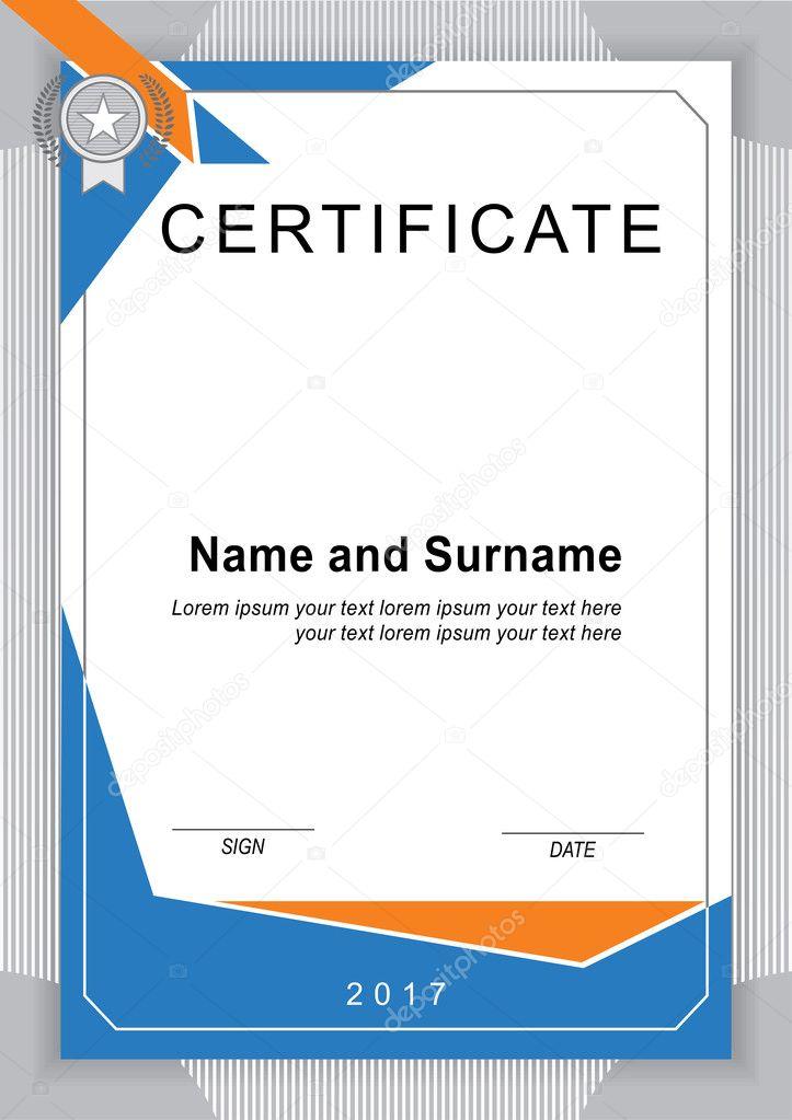 Vektor-Zertifikat-Vorlage. Horizontale blank — Stockvektor ...