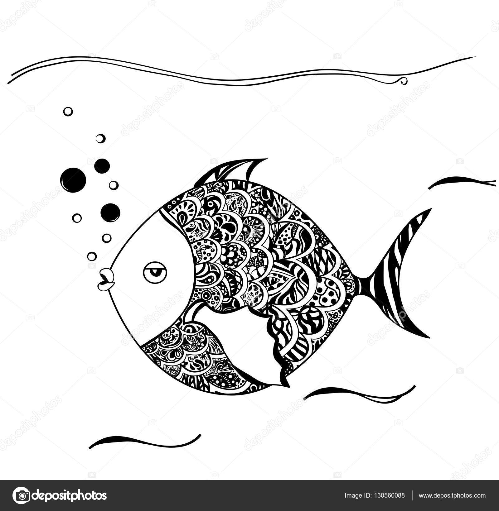 Hand drawn ornamental fish. Black white drawn. You may use ...