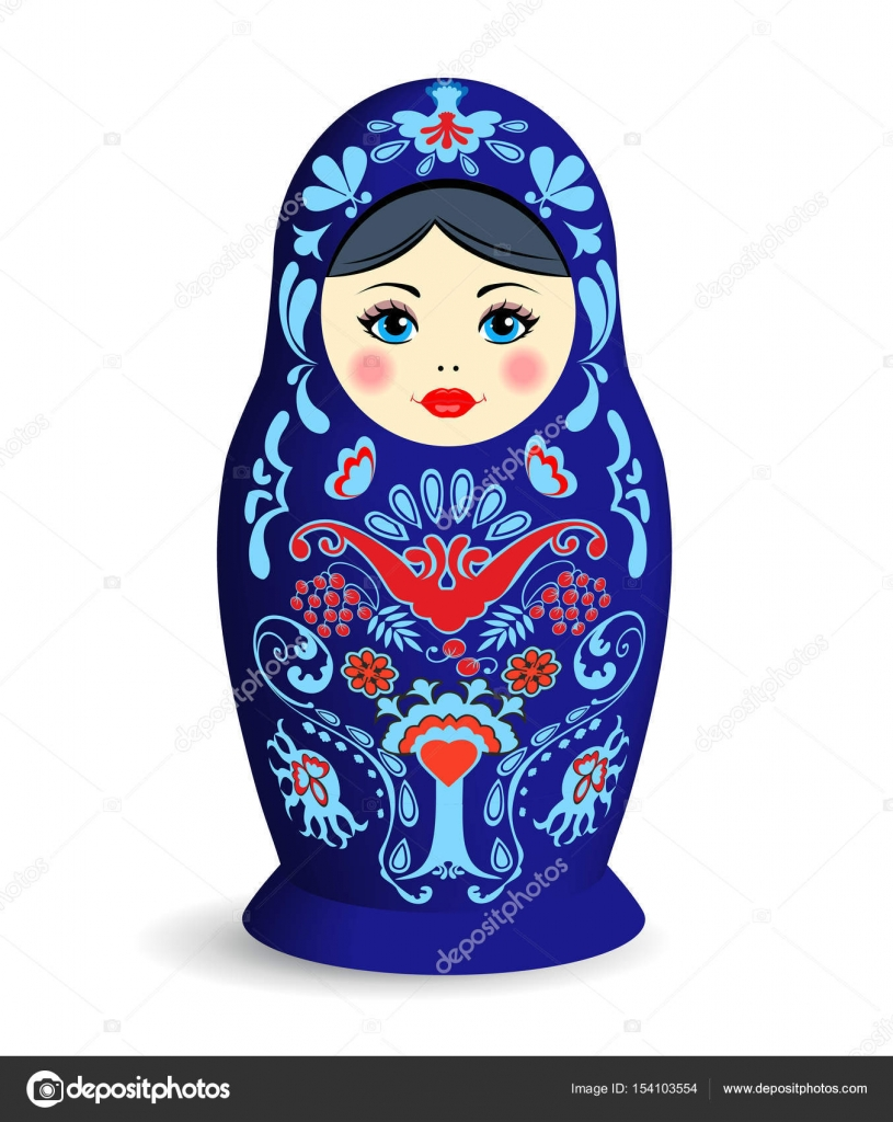 Blue Russian Ornamental Nesting Doll With Shadow On White Background