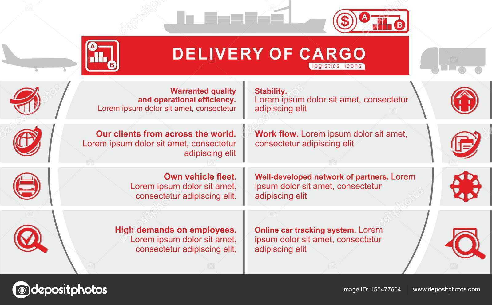 Red grey logistics icons  Delivery of cargo  Logistics template for
