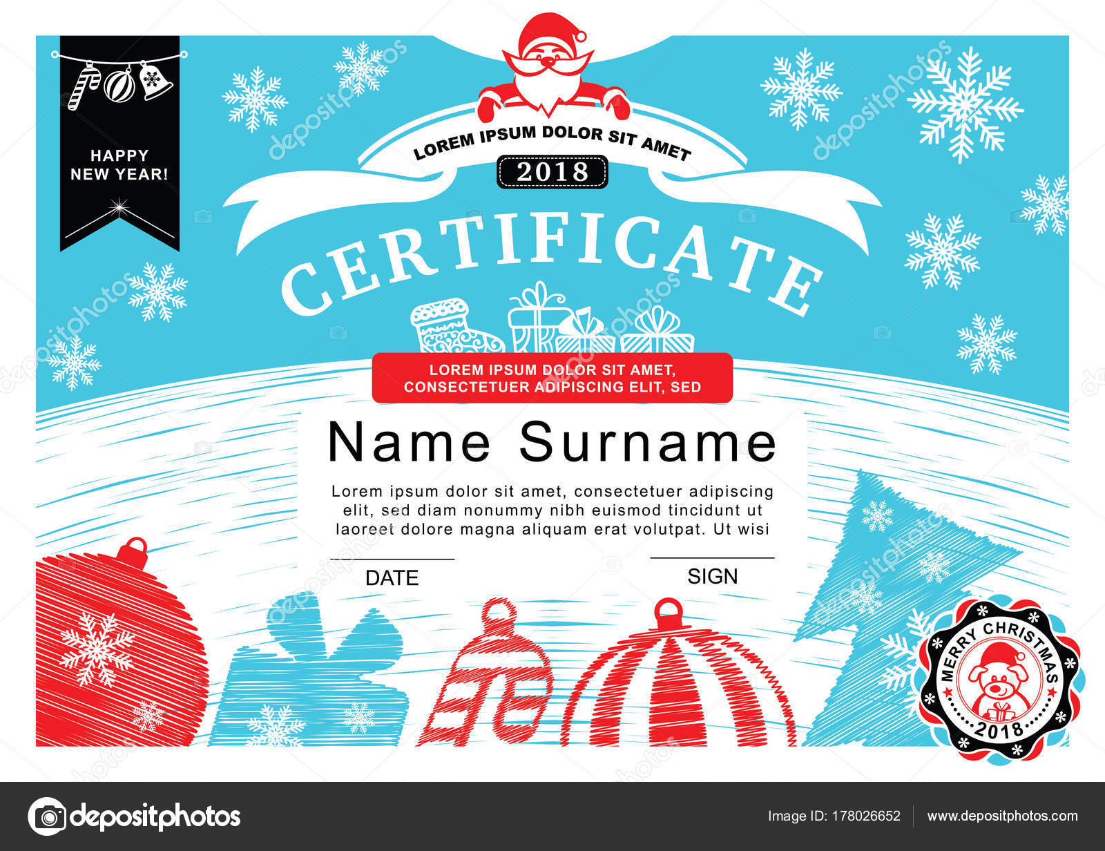 Christmas Certificate Santa Badge Christmas Tree Decoration Simple