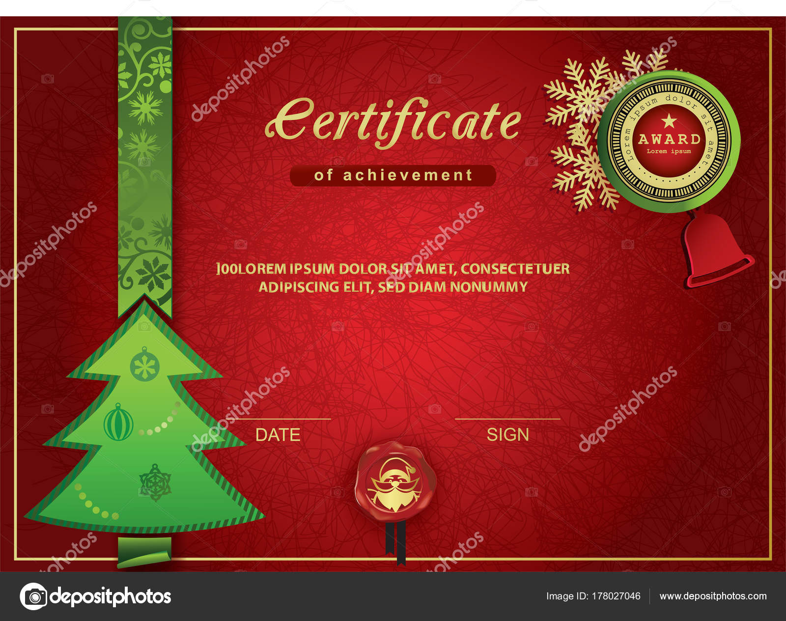 Christmas Certificate Red Green Gold Christmas Background Stock