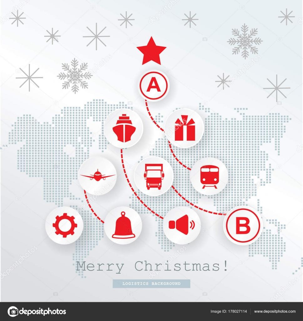 Logistik Weihnachtskarte Schematische Weihnachtsbaum Auf ...