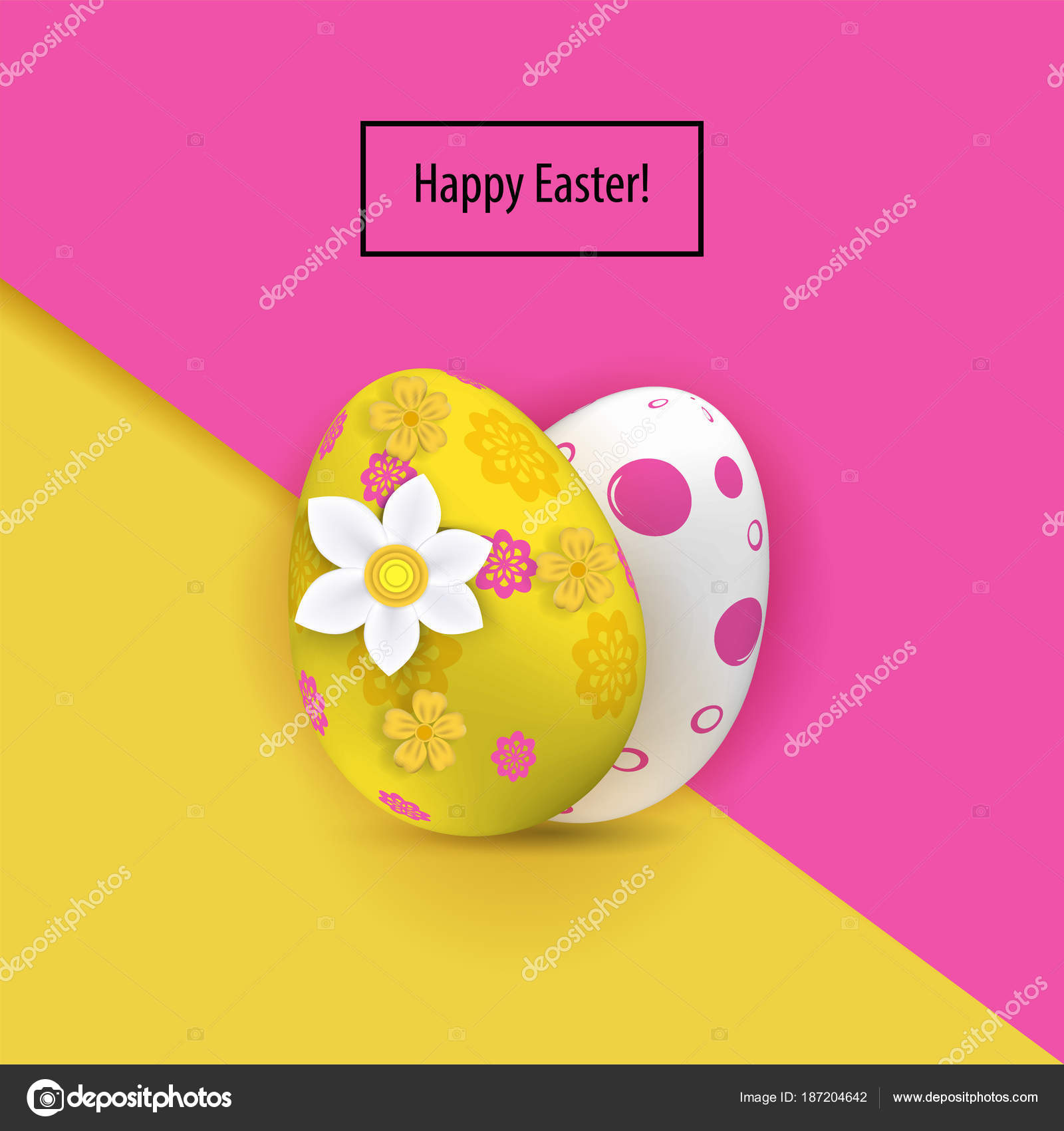 Yellow White Two Easter Eggs On The Pink Paper Background