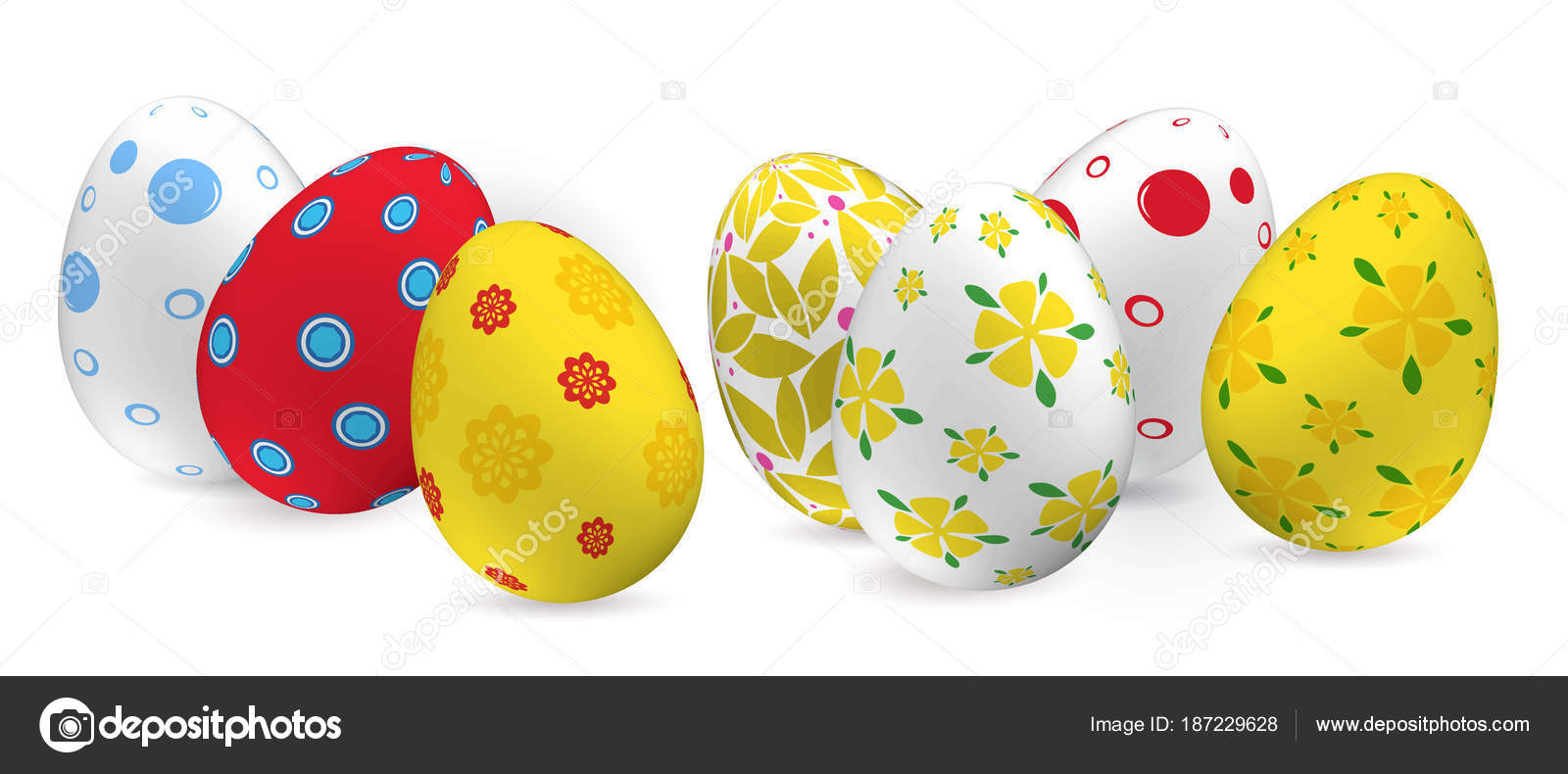 Yellow Red White Easter Eggs And Snowdrop On The Pink Green Paper