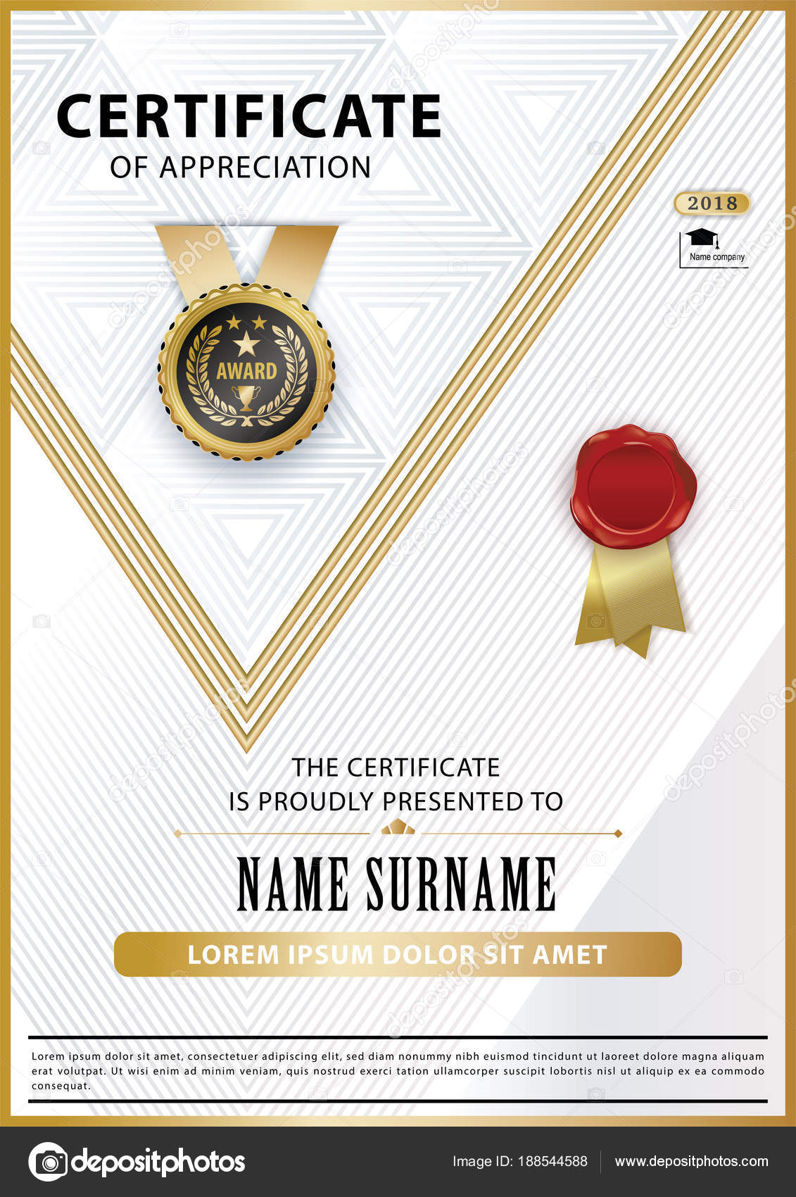 Official White Certificate Of Appreciation Award Template With Gold