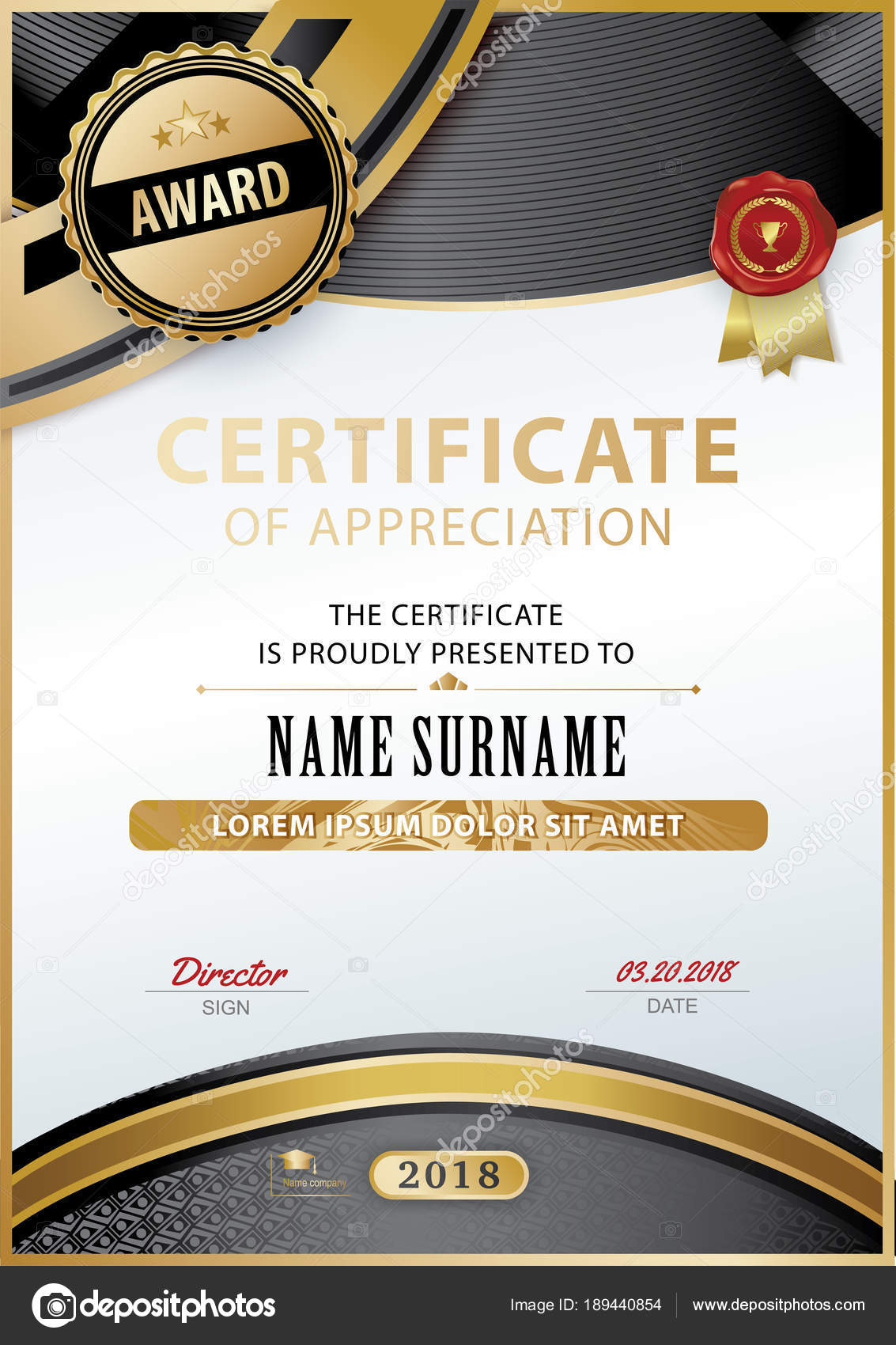 Official white certificate of appreciation with black gold design official white certificate of appreciation with black gold design elements vector template stock vector yelopaper Images