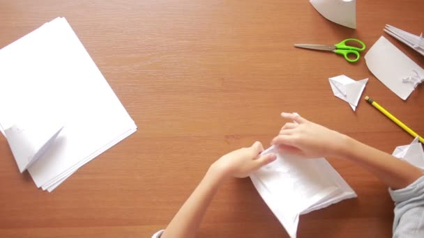 Little Boy Drawing On Paper Art Origami Hobby Crafts Stock Video