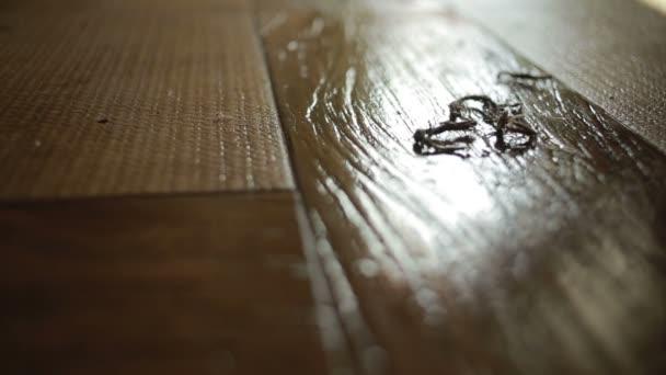 Žena dělá, čištění. dívka, čištění mopem podlahu. čištění
