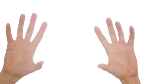Woman hand on white background. hand gestures. press tits