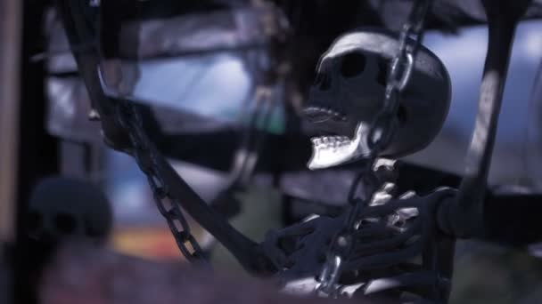 skeleton chained. the concept of ghosts. halloween skull closeup