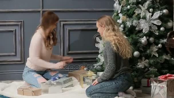 Dvě mladé ženy v pletených svetříků sedí na srst poblíž stromu nový rok