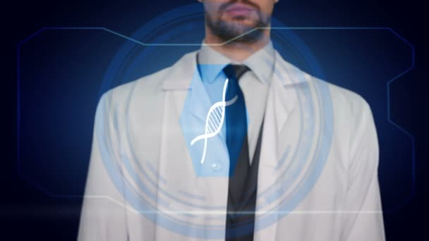 Arzt schiebt blaues Symbol blauen Hintergrund. dna molekulare Medikamentenspritze