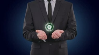 Bitcoin glowing energy in the hands businessman. concept Finance Currencies