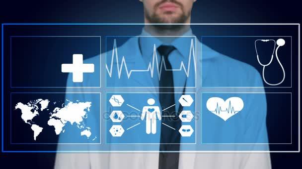 Arzt arbeitet an einem virtuellen Bildschirm. Medizintechnikkonzept. Impuls
