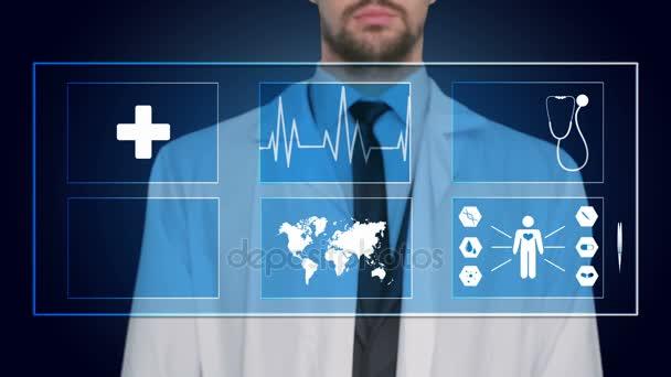 Doktor pracuje na virtuální obrazovky. koncepce lékařské technologie. Pulzní