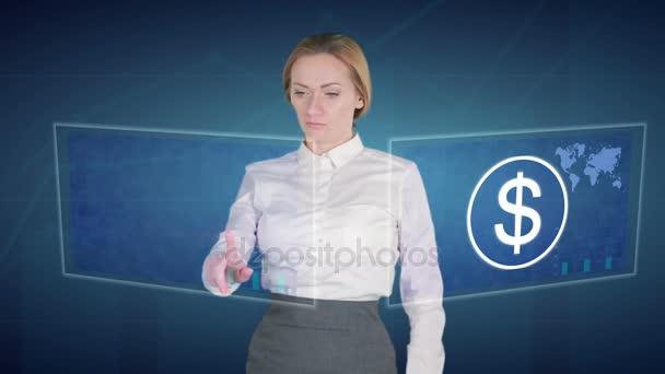 Obchodní žena dělá finanční analýzu na dotykových obrazovkách. dolar, Bitcoin