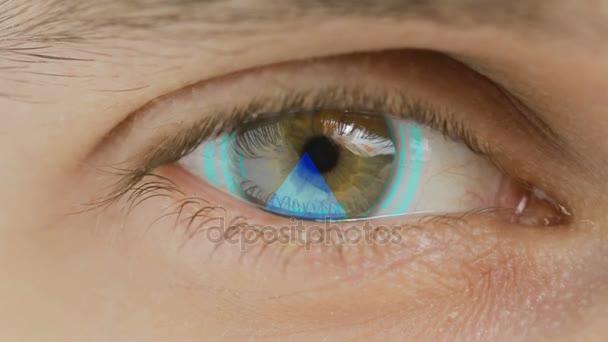 Nahaufnahme des Auges mit überlagerten Computerdaten und Texten. Zoom in Zentr. Charts